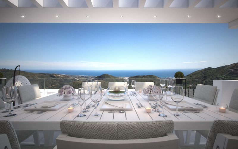 Terrace views over Marbella from apartment for sale