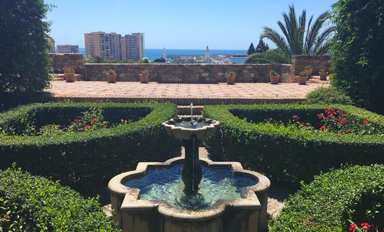 The gardens in Málaga's Moorish Alcazaba overlooking the Mediterranean coastline