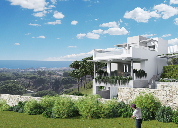 Golf and sea view villas and townhouses for sale in Cabopino, Marbella