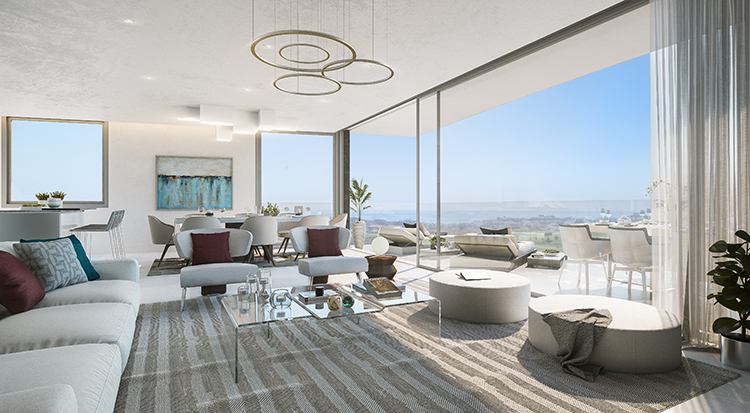 Sea view apartments for sale in Calanova Golf, Mijas Costa